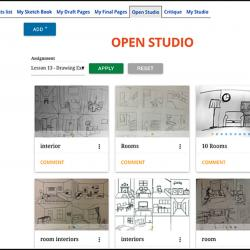This screenshot of the digital studio shows where student artwork is displayed and viewable by others in the class.